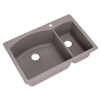 DIAMOND Dual Mount Composite 33 in. 1-Hole 1-1/2 Bowl Kitchen Sink in Metallic Gray