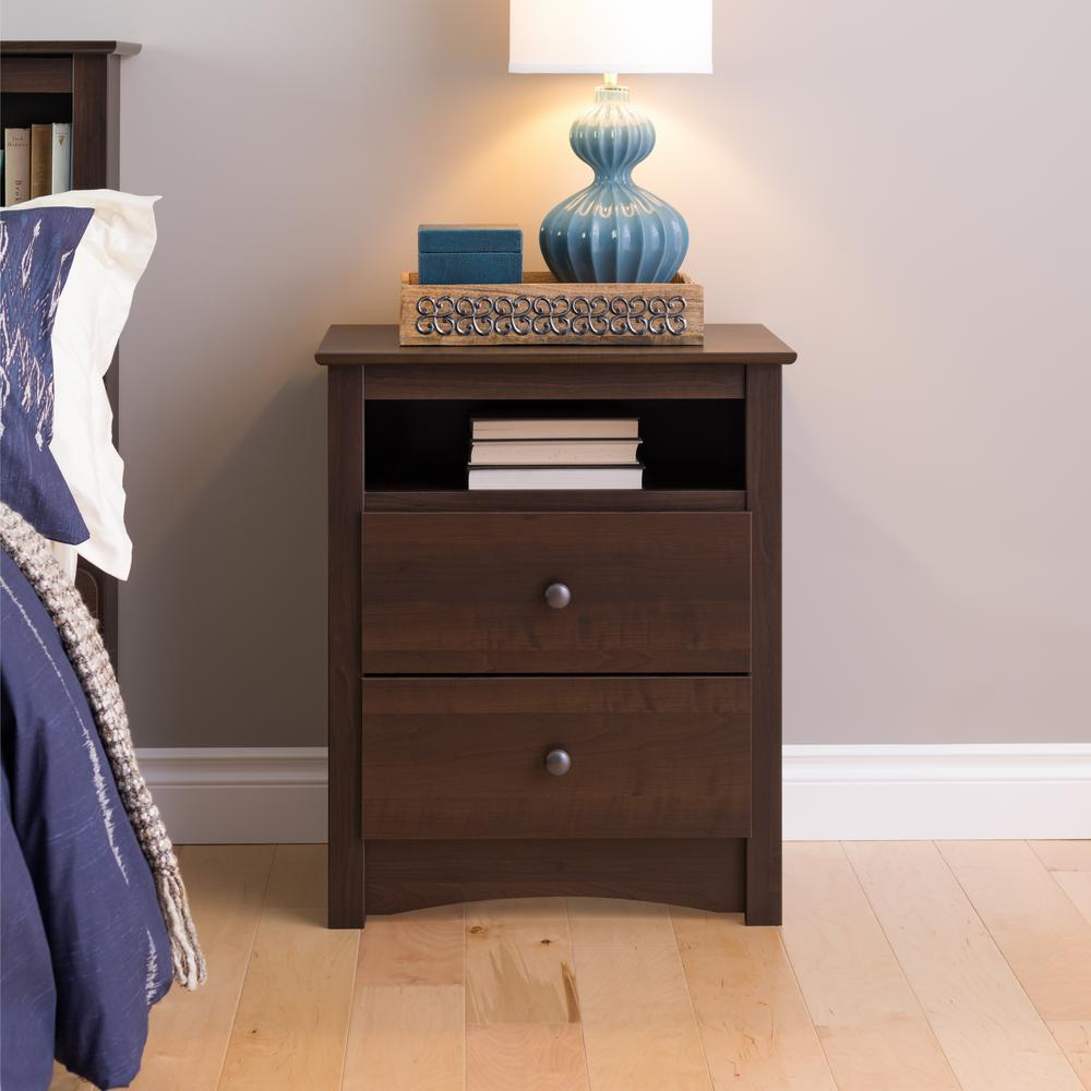 Very best Prepac Fremont 2-Drawer Espresso Nightstand-EDC-2428 - The Home Depot KD43