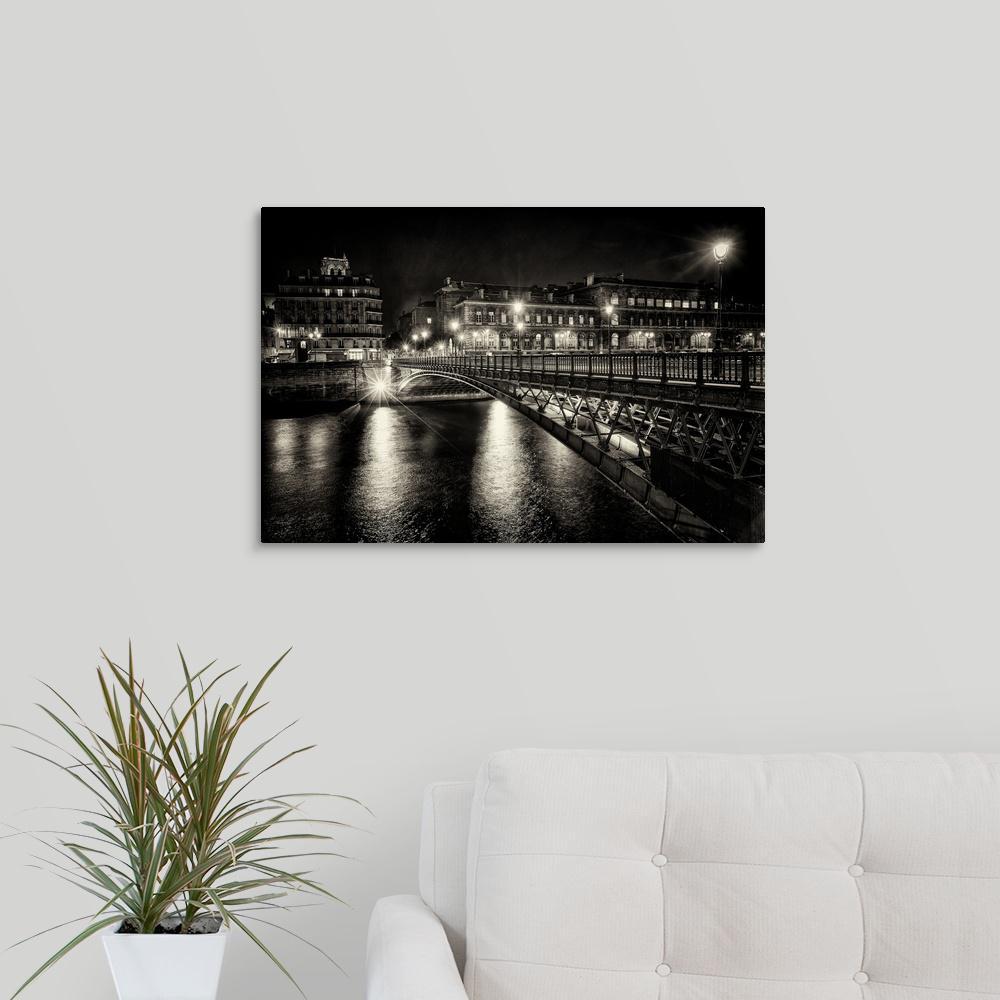 """Bridge at night, Paris, France"" by  Scott Stulberg Canvas Wall Art"