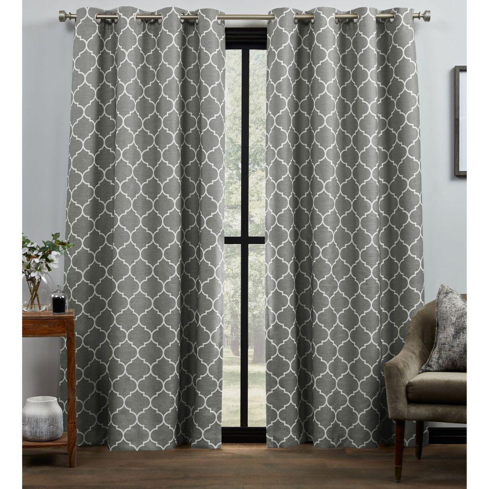 Bensen Trellis Grey/White Blackout Grommet Top Curtain Panel 52 in. W x 96 in. L (2 Panels)