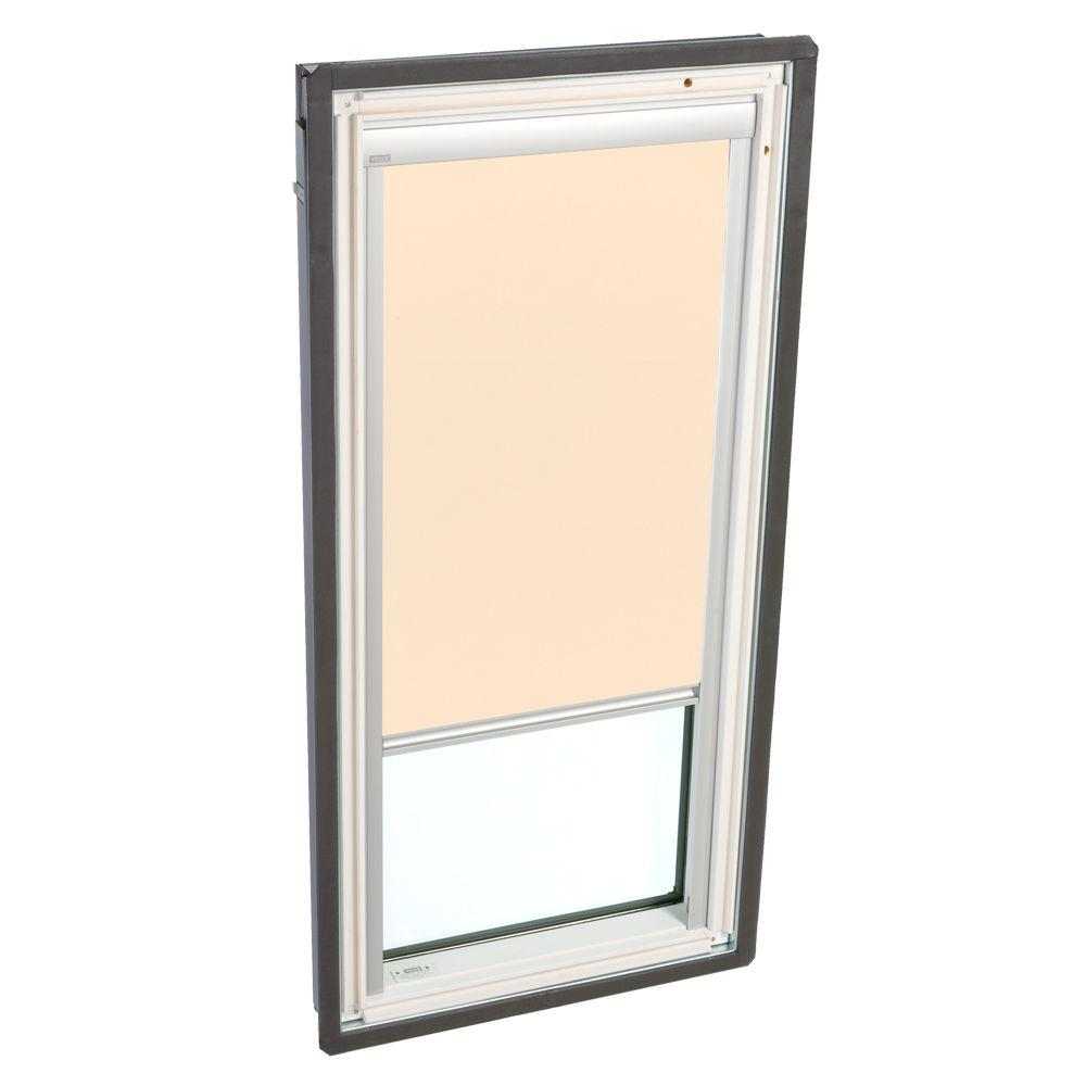 VELUX Truss Series 22-1/2 x 45-3/4 in. Fixed Deck-Mounted Skylight Tempered LowE3 Glass Beige Solar Powered Light Filter Blind