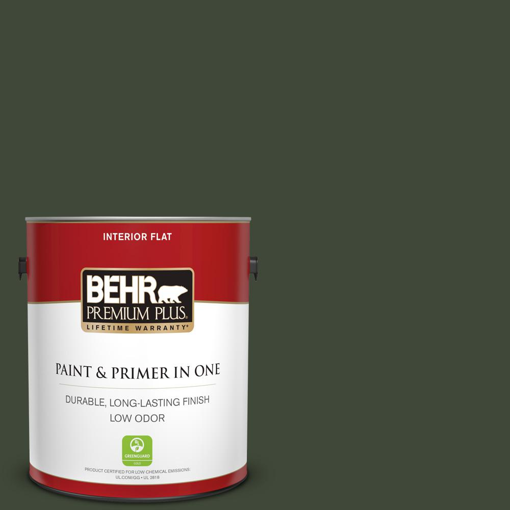 Behr Premium Plus 1 Gal Ppf 54 Trellised Ivy Flat Low Odor Interior Paint And Primer In One 130001 The Home Depot