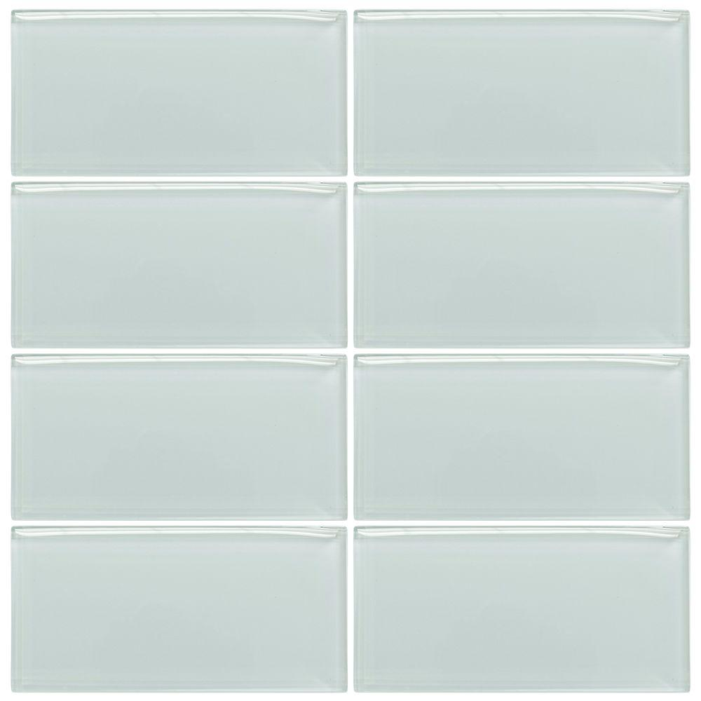 Jeffrey Court Morning Mist 3 in. x 6 in. Glass Wall Tile (1pk/8pcs ...