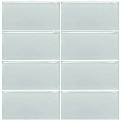 Morning Mist 3 in. x 6 in. Glass Wall Tile (1pk/8pcs=1SF)