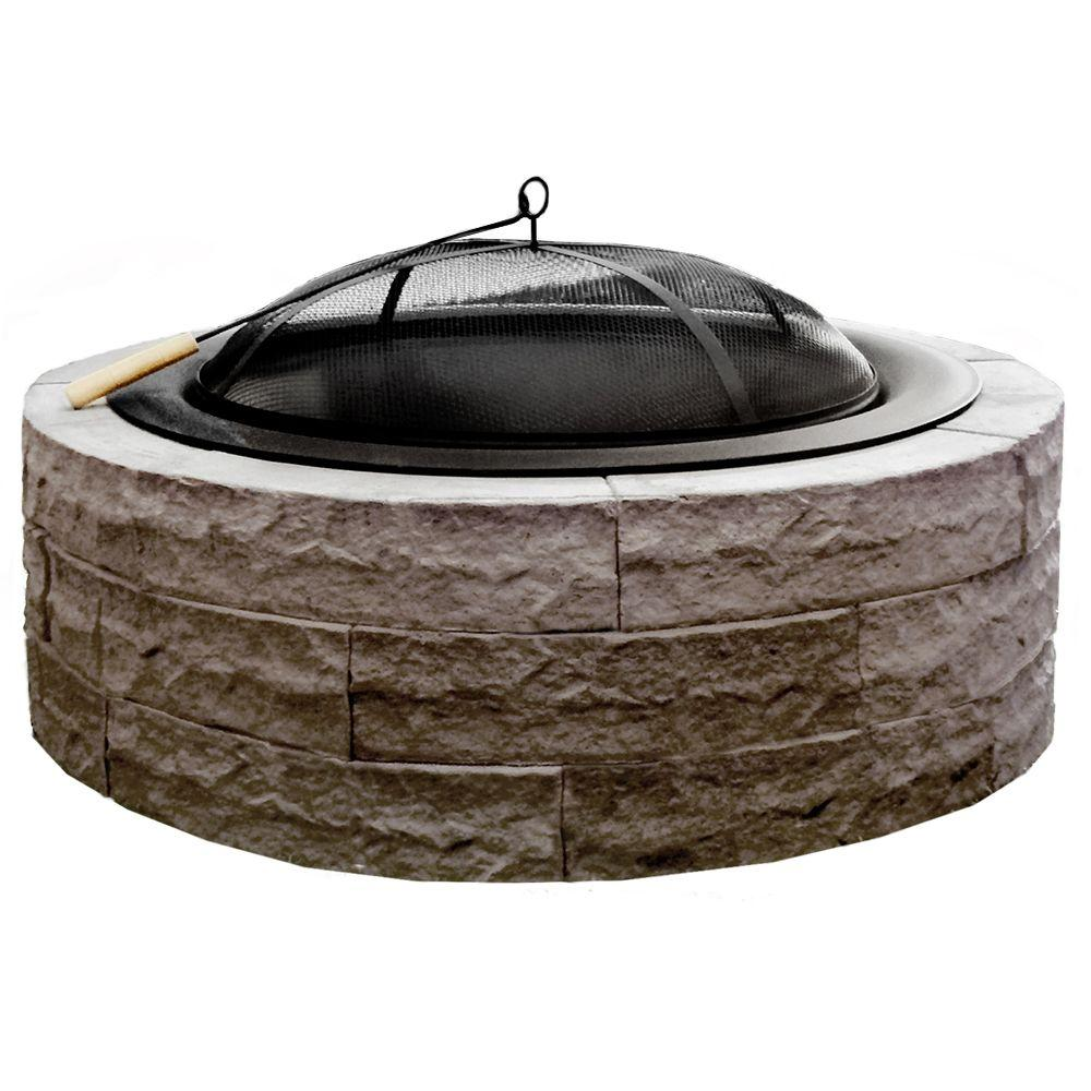 Four Seasons Lightweight Wood Burning Concrete Fire Pit Earth Brown  Accessories Included - 42 In. Four Seasons Lightweight Wood Burning Concrete Fire Pit Earth