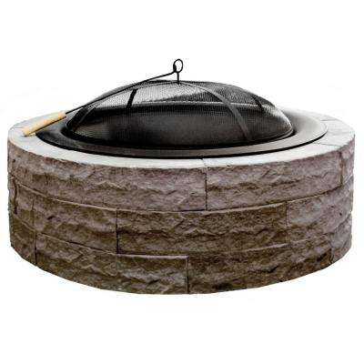 Four Seasons Lightweight 42 in. Wood Burning Concrete Fire Pit Earth Brown- Accessories Included