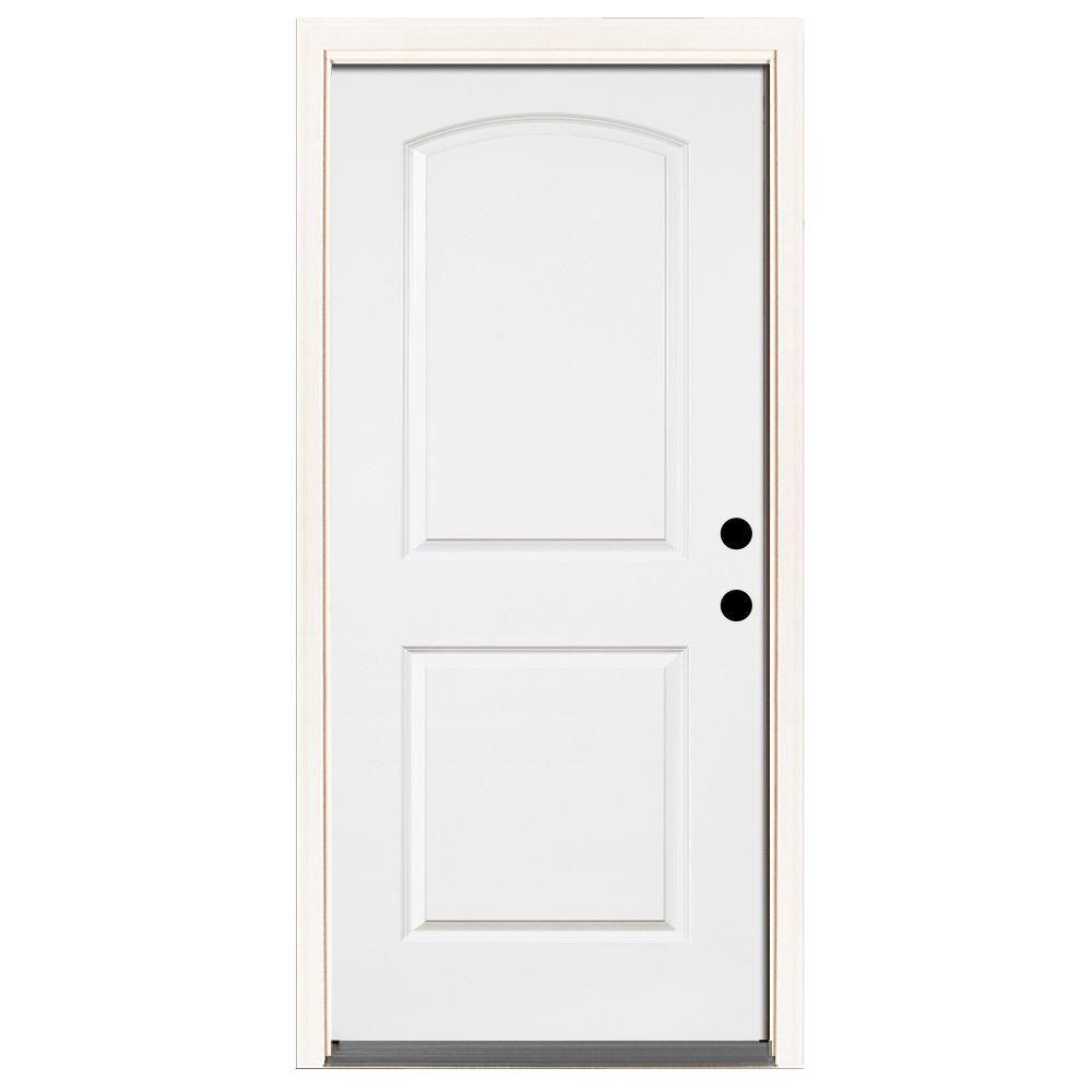 Steves & Sons 36 in. x 80 in. Premium 2-Panel Roundtop Left-Hand Inswing Primed White Steel Prehung Front Door with 4-9/16 in. frame