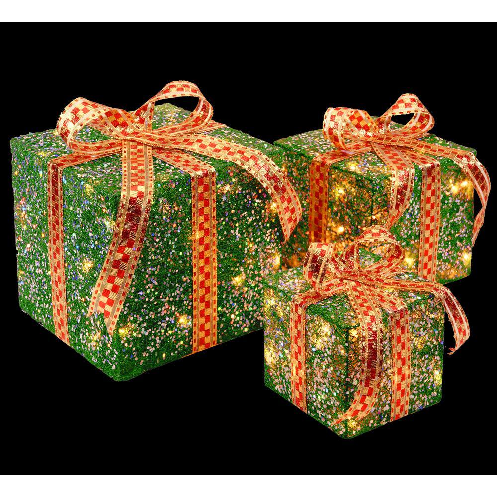 Pre-Lit Green Sisal Gift Box Assortment