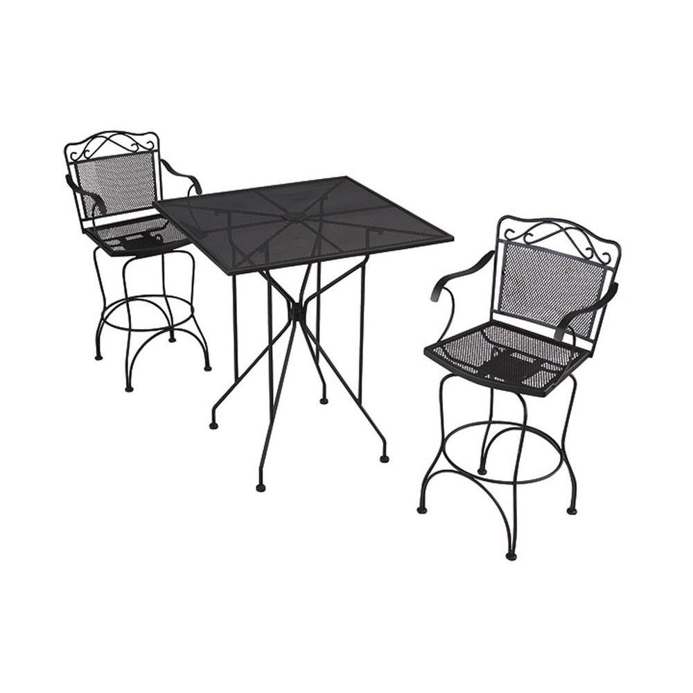 null Black Wrought Iron 3-Piece Patio Bar Set-DISCONTINUED