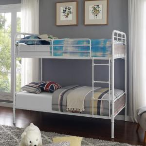 Urban Industrial Twin over Twin Metal Wood Bunk Bed