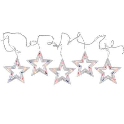 6 ft. 5-Light LED Red White and Blue Patriotic 4th of July Star Shaped Lights White Wire