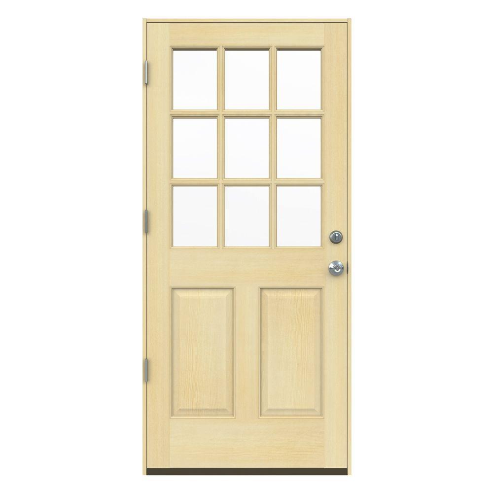 JELD-WEN 32 in. x 80 in. 9-Lite Unfinished Fir Prehung Front Door ...