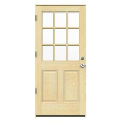 36 in. x 80 in. 9 Lite Unfinished Wood Prehung Right-Hand Outswing Front Door w/Unfinished Rot Resistant Jamb
