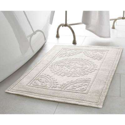 Cotton Stonewash Medallion 17 in. x 24 in./20 in. x 32 in. 2-Piece Bath Rug Set in Light grey