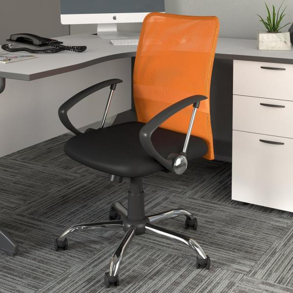 Corliving Workspace Office Chair With Contoured Orange Mesh Back Whl 725 C The Home Depot