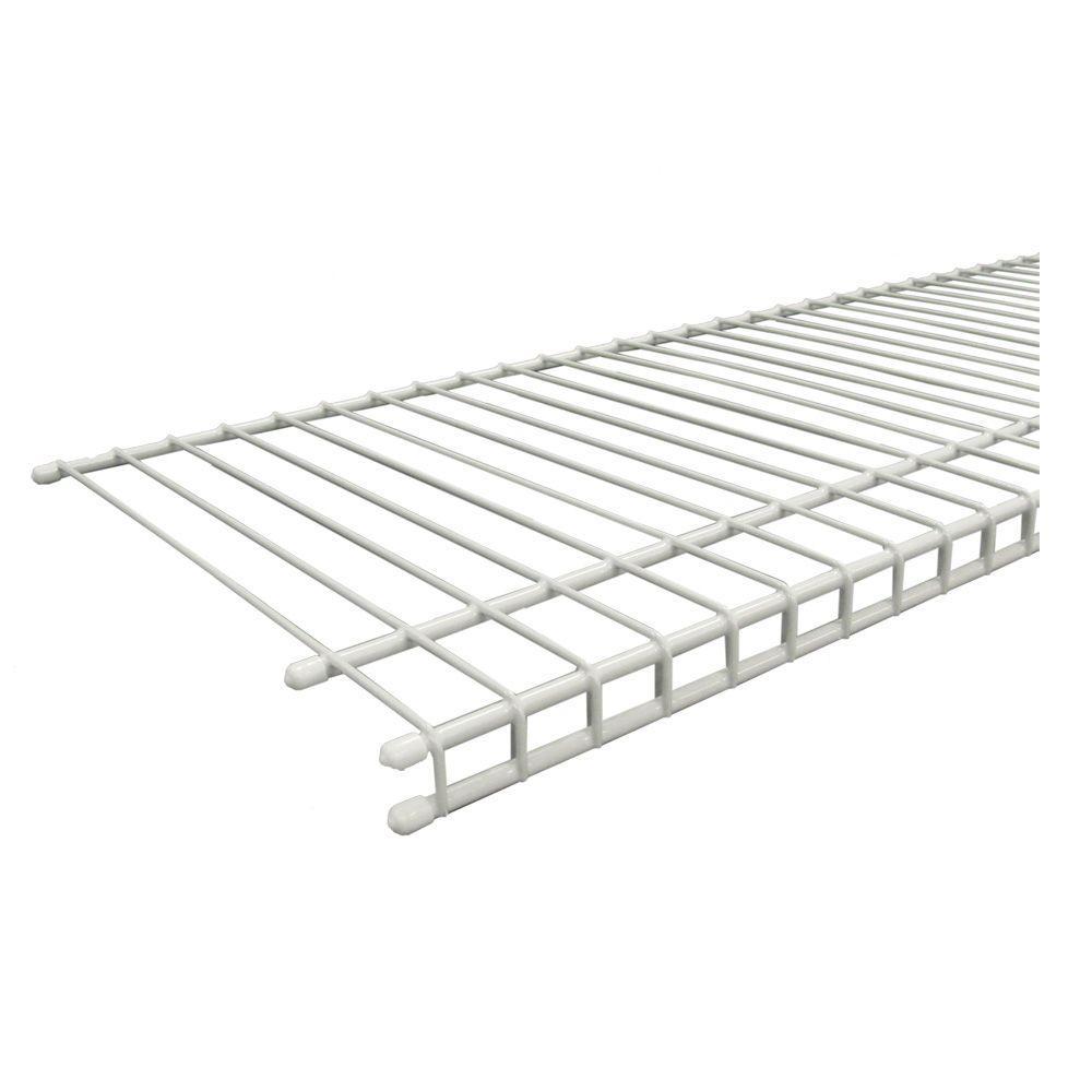 closetmaid superslide 96 in  w x 12 in  d white ventilated wire shelf-4718