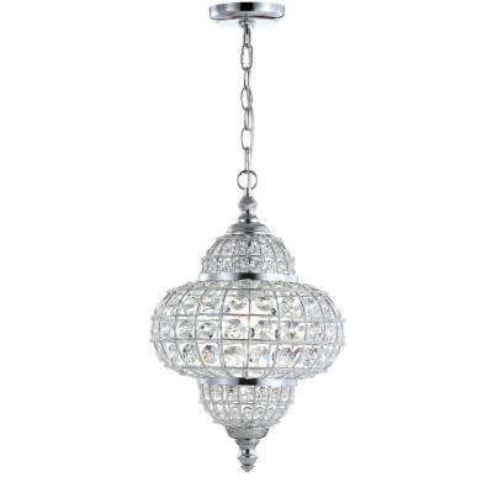 Juliette 12 in. 1-Light Chrome Crystal/Metal LED Chandelier Pendant