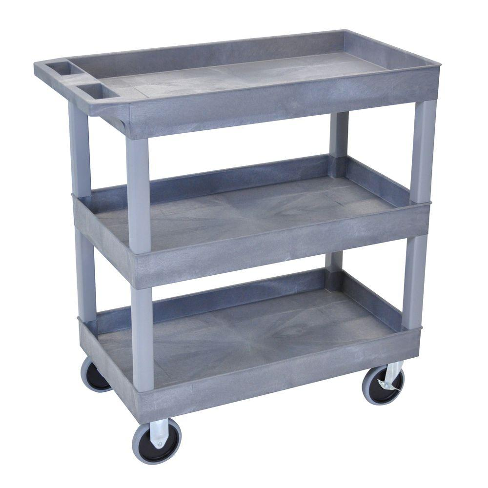 H Wilson 18 in. x 35 in. 3-Tub Shelf Utility Cart, Gray-EC111HD-G ...