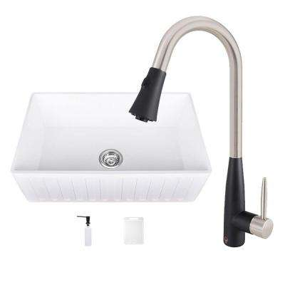 All-in-One 30 in. 0-Hole Matte Stone Farmhouse Kitchen Sink and Milburn Stainless Steel/Matte Black Faucet Set