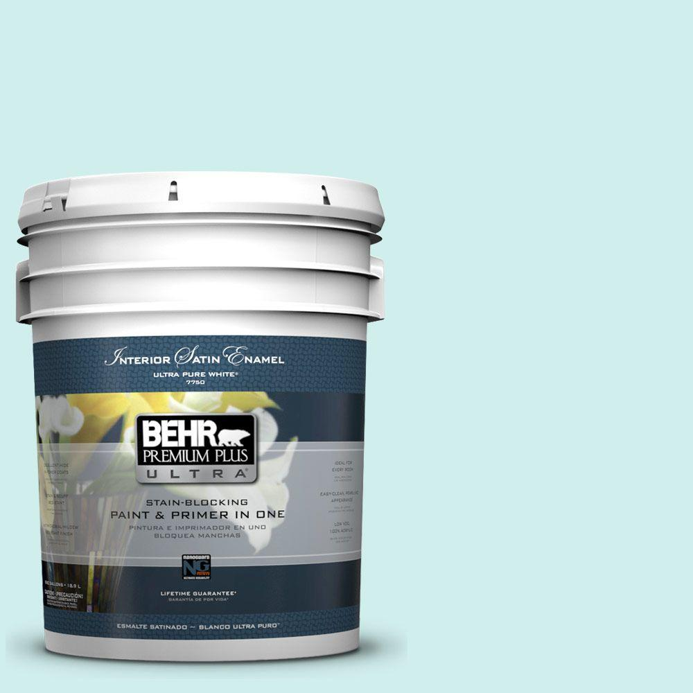 5 gal. #490A-1 Teal Ice Satin Enamel Interior Paint and Primer