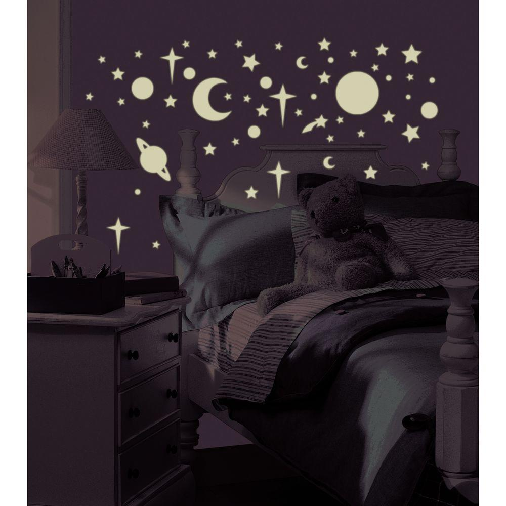 null 10 in. x 18 in. Celestial 258-Piece Peel and Stick Wall Decals