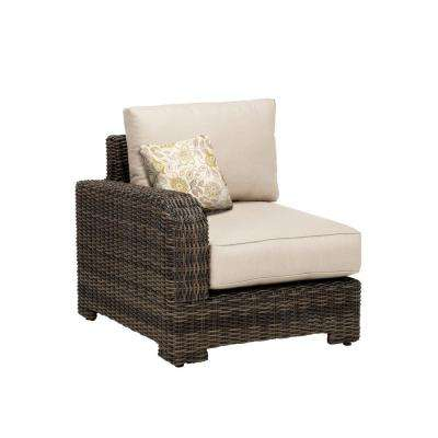 Northshore Left Arm Patio Sectional Chair with Sparrow Cushion and Aphrodite Spring Throw Pillow -- CUSTOM