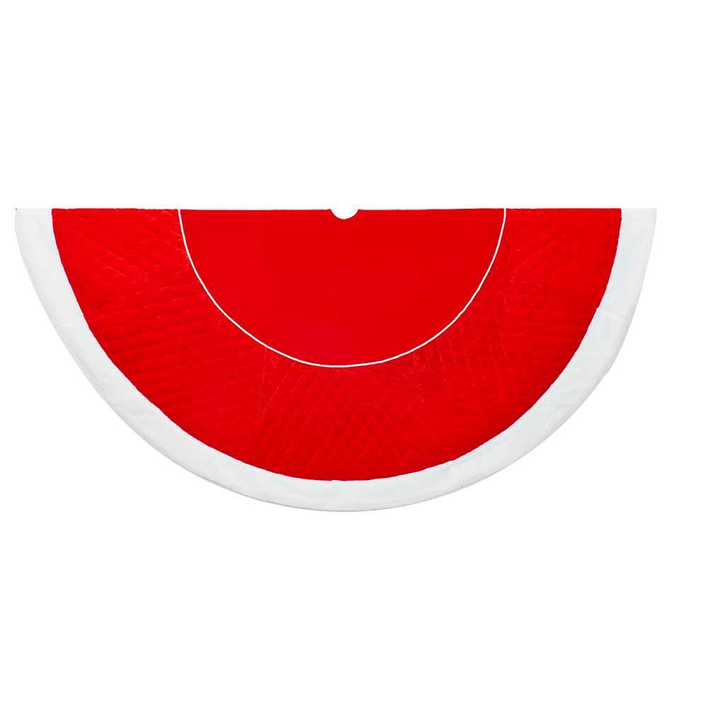 Kurt Adler 72 in. Red and White Velvet Quilt Treeskirt with Faux Fur Border
