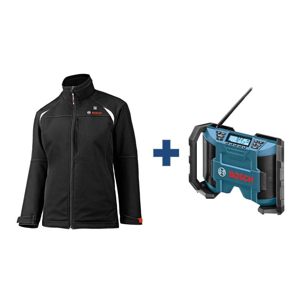 Women's Black Heated Jacket Kit with Free 12 Volt Lithium-Ion Cordless Compact Jobsite Radio