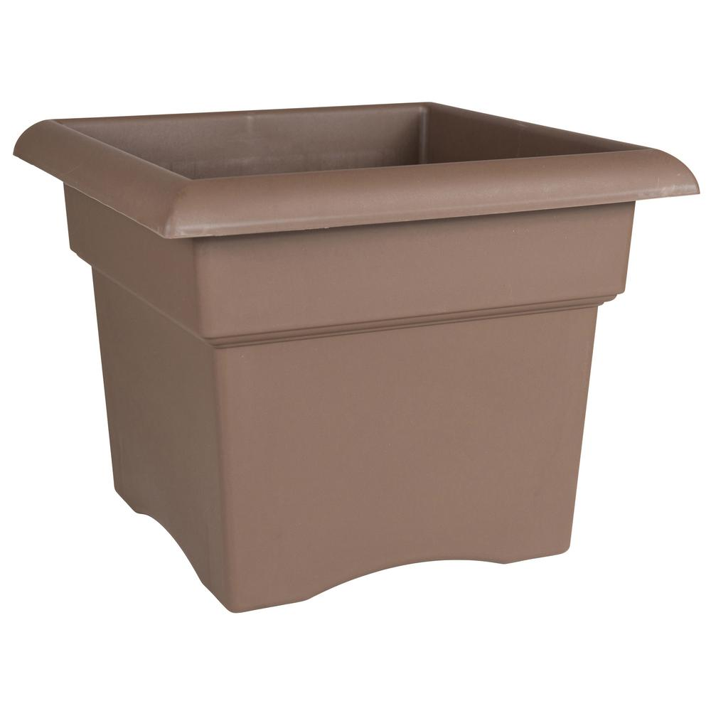 Veranda 14 in. Chocolate Plastic Deck Box Planter