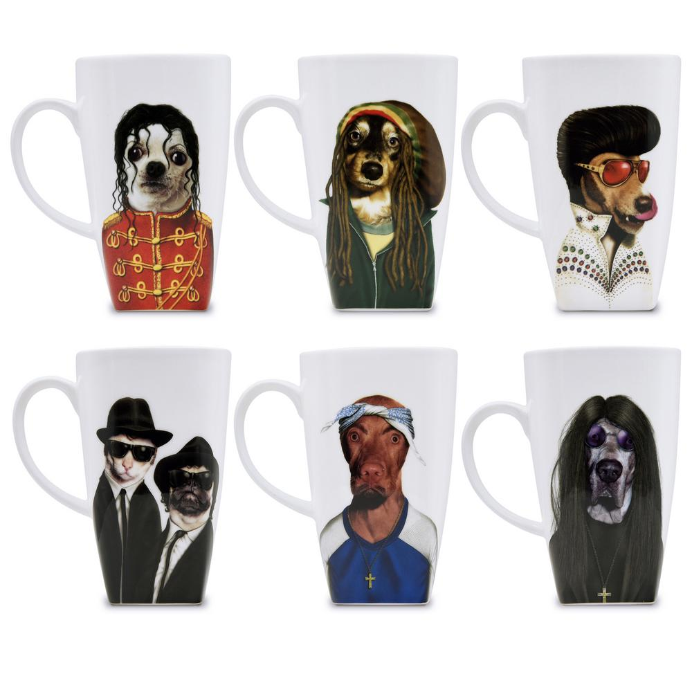 20 oz.  Icons  Pets Rock Collectible Fine Bone China Mugs (Set of 6), Icons-6 Set of 6 Pets Rock fine bone china 20 oz. mugs. These Pets Rock fine bone china coffee mugs give you the option to see the adorable pets you love dressed as celebrities on your mug. Available with a variety of furry creatures to fit any animal lovers desires. What better way to start your morning than with a cup of Joe and your adorable Pets Rock buddy. The porcelain is milky white in color, beautiful in shape and comfortable in your hand. Color: Icons-6.