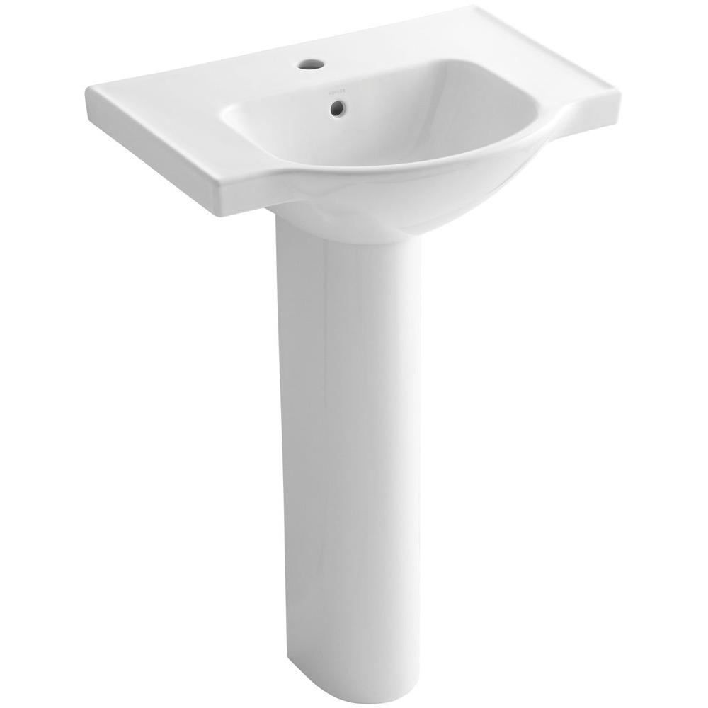KOHLER Veer 24 In. Vitreous China Pedestal Combo Bathroom Sink In White  With Overflow Drain