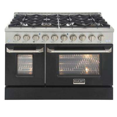 Pro-Style 48 in. 6.7 cu. ft. Double Oven Liquid Propane Range with 8 Burners in Stainless Steel and Black Oven Doors