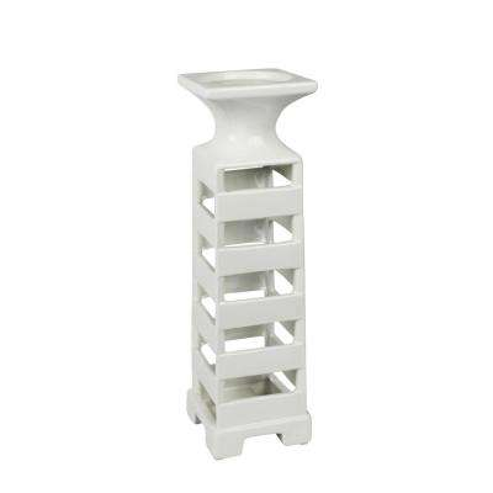 16 in. White Slat Ceramic Candle Holder