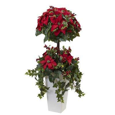 4 ft. Poinsettia Berry Topiary with Decorative Planter