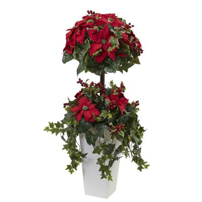 4ft. Poinsettia Berry Topiary with Decorative Planter
