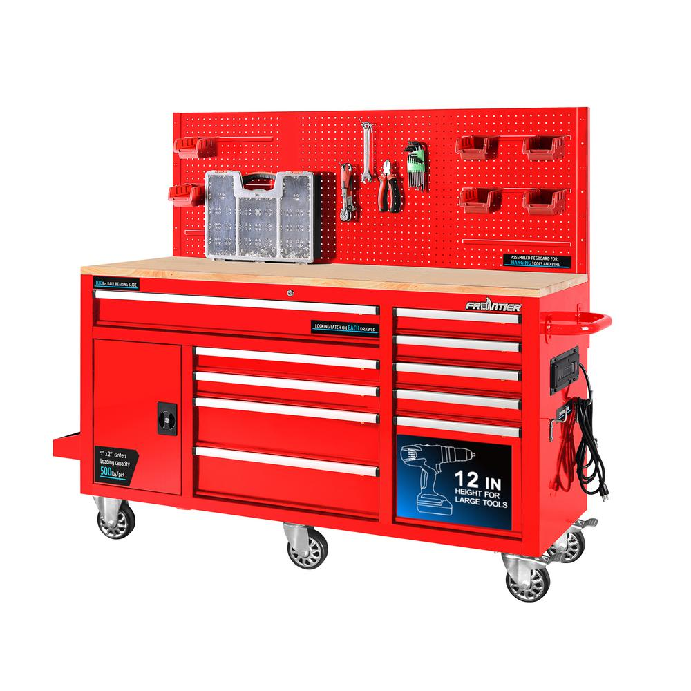 Frontier 62 in. 10-Drawer Tool Chest Cabinet with Pegboard Back Wall Heavy-Duty Mobile Workbench in Red
