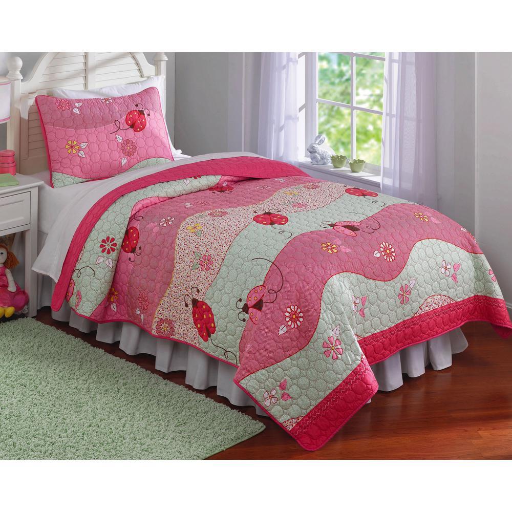 Garden Waves Twin Quilt with Pillow Sham