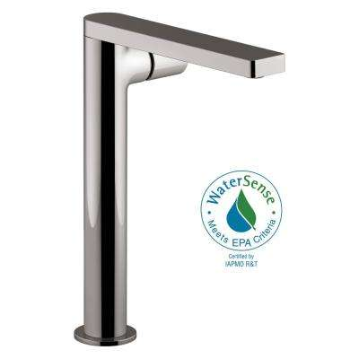 Composed Single Hole Single-Handle Tower Vessel Bathroom Faucet with Cylindrical Handle and Drain in Titanium