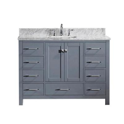 Virtu USA Caroline Avenue 49 in. W Bath Vanity in Gray with Marble Vanity Top in White with Square Basin