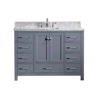 Caroline Avenue 49 in. W Bath Vanity in Gray with Marble Vanity Top in White with Square Basin