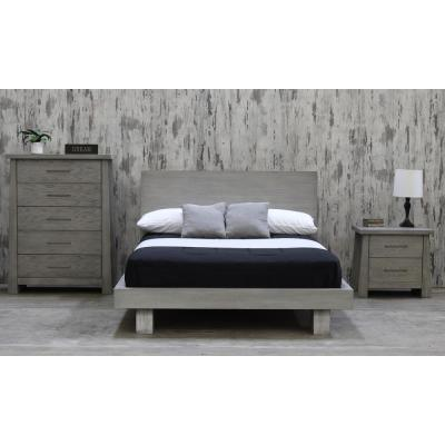 Fusion Driftwood Queen Headboard Platform Bed