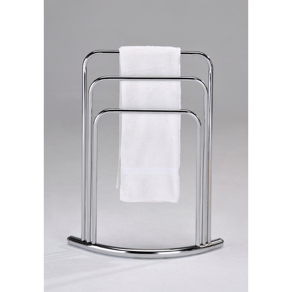 Modern 3-Bar Freestanding Towel Rack in Polished Chrome
