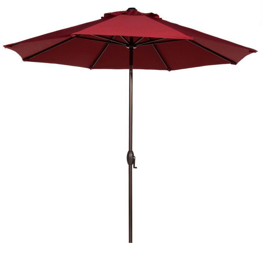 11 ft. Aluminum Market Push Tilt Patio Umbrella in Red