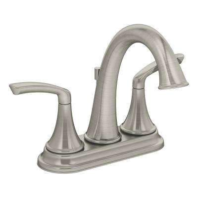 Elm 4 in. Centerset 2-Handle Bathroom Faucet with Drain Assembly in Satin Nickel (1.5 GPM)