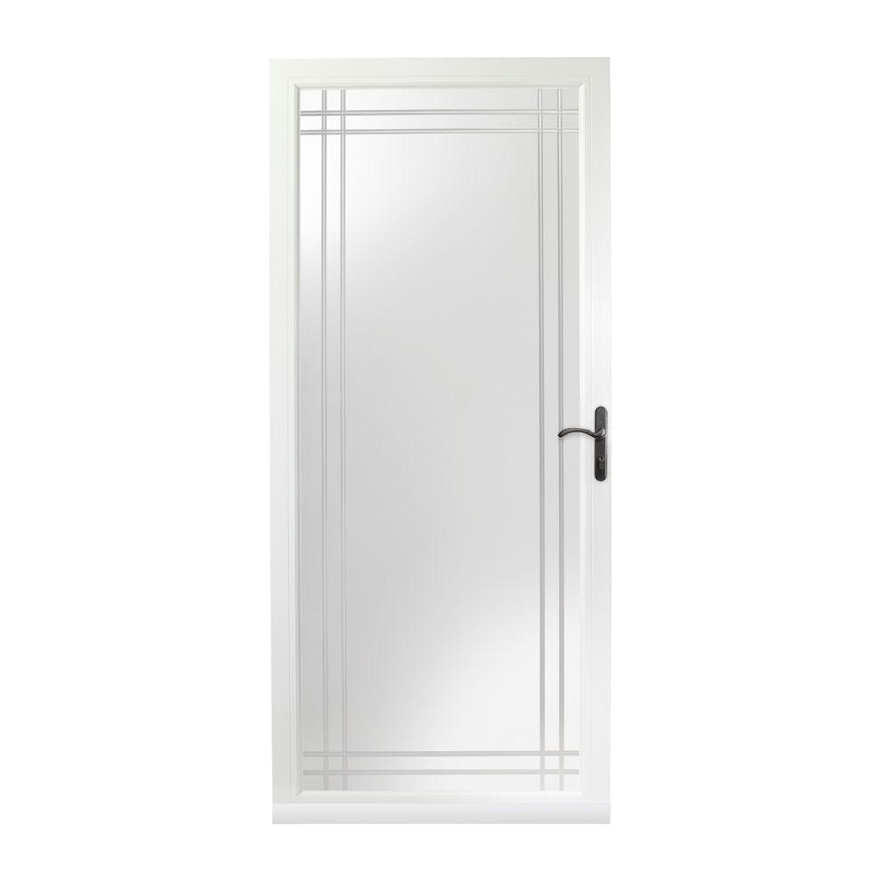 36 in. x 80 in. 3000 Series White Right-Hand Fullview Etched Glass  sc 1 st  The Home Depot & Full-view - Storm Doors - Exterior Doors - The Home Depot