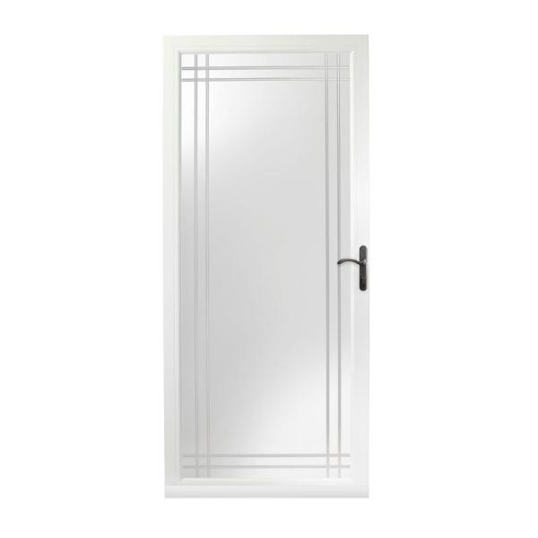 36 in. x 80 in. 3000 Series White Right-Hand Fullview Etched Glass Storm Door with Oil-Rubbed Bronze Hardware