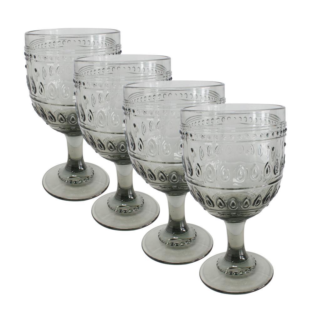 Fez 4-Piece 12oz. Grey Wine Glass Set