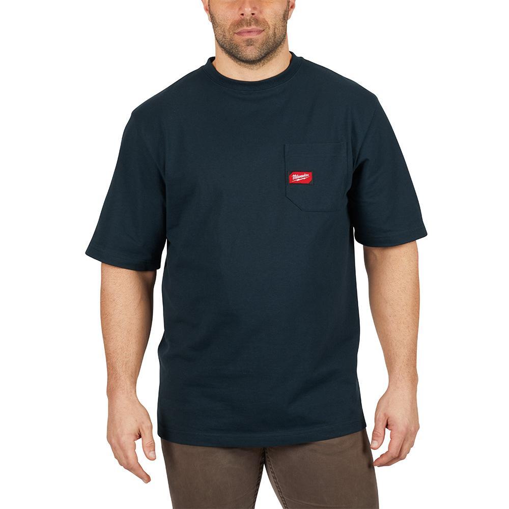 Men's 3X-Large Blue Heavy Duty Cotton/Polyester Short-Sleeve Pocket T-Shirt
