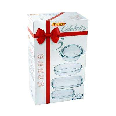 Celebrity 5-Piece Glass Oven/Microwave Bakeware Set.