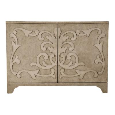 Ornate Overlay Beige 2-Door Accent Bar Cabinet